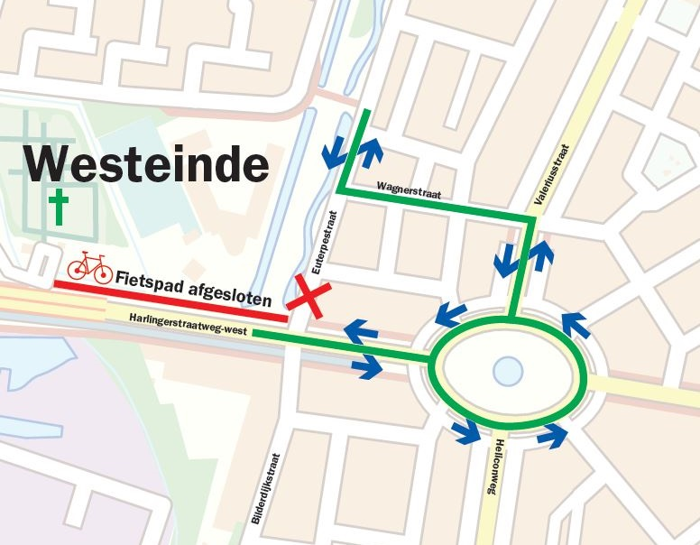 Stremming / omleiding Euterpestraat en fietspad Euterpestraat - rooms