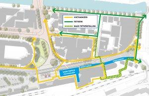 De omleiding voor fietsers richting centrum vanaf en richting De Schrans/Zuiderplein is via de Willemskade.